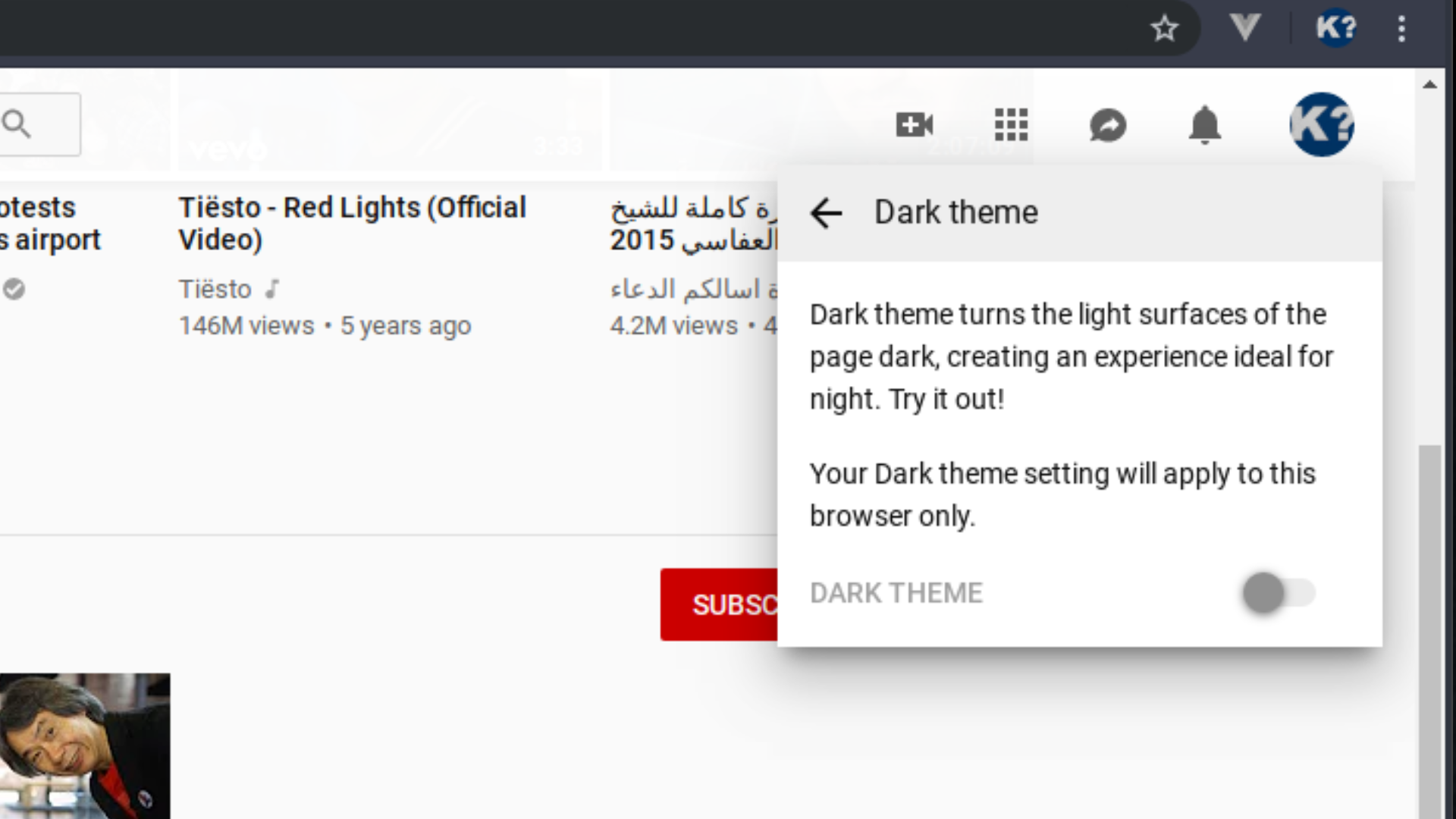 How to activate dark theme mode on YouTube? #keefto